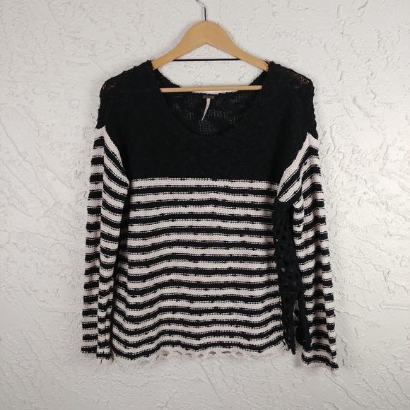 Free People Boxy Black Striped Sweater